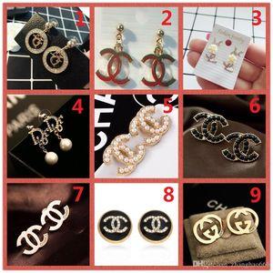 HAUT! Prix de gros! 14K classique Designer Diamond Pearl Boucles d'oreilles Studs Or Argent Dangler Bijoux Accessoires Cadeau Fête A18