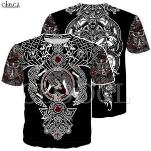 Crânio Art Factory Atacado Nordic Viking Tattoo T Shirt Mulheres Homens Pirates 3D Imprimir T-shirt Vikings Rei manga curta Tops Casual