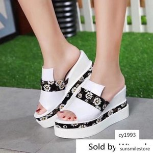 The Latest Platform Wedge 6131 Women Slippers Drivers Sandals Slides Sneakers Slipper Real Leather Shoes