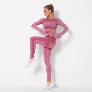 Set Fitness Yoga Sportwear Clothing Full 2pcs Gymshark Two Tracksuits Sports Piece Autumn Outdoor Outfits Leggings Backless Gymwear Des Hdeg