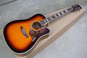 Livraison gratuite 43 pouces guitare acoustique avec écrou os / selle, Colibri pickguard, Touche palissandre, peut être personnalisé