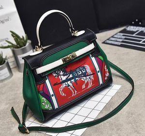 Diseñador- 2019 Nueva estrella de Euramerican del mismo estilo bolso bandolera de mensajero de la moda Floral patrón geométrico bolsos de cuero suave