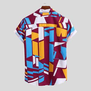الصيف أزياء الرجال عارضة متعدد جولة اللون المقطوع الصدر جيب قصيرة كم هيم فضفاض قميص بلوزة زائد الحجم M-4XL