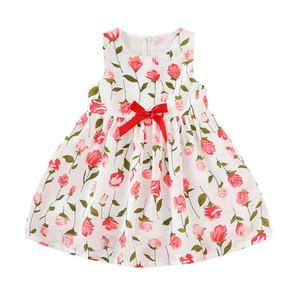 Floral Baby Girls Dress Crianças Impresso plissadas Ruffle Bow Zipper Vestido Crianças roupas de lazer meninas Princesa altura do joelho Woven Saias 06