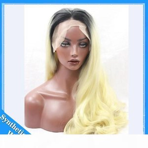 L Long Lace Front Synthetic Wigs 1b #613 #Blonde Ombre Wig Dark Root Body Wave Wigs Brazilian Hair Synthetic Lace Front Wig Heat Resist