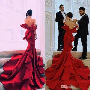 Sirène Portrait Fabulous robes de bal Sexy Encolure Big Bow Zipper Backless Celebrity Party Robes Dubai chapelle train satin soir Dres