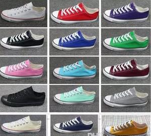 العلامة التجارية الجديدة للجنسين منخفضة نمط النساء البالغات في رجل النجوم أحذية قماش conve الذي تغلب عليه اسهم يصل أحذية عارضة حذاء رياضة 15 لون قطرة الشحن أعلى جودة