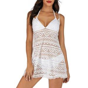 Femmes Plus La Taille Deux Maillots De Bain Maillot De Bain Sexy maille couture pendaison cou bandage swinwear Beachwear costume de bain femme 35 #