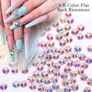 1 Bag 3D AB Color Nail Rhinestone Clear Flat Back Bottom Nail DIY Mixed Size Crystal Colorful Art Decorations Gem