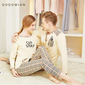 DO DO MIAN пижамы костюм для любителей хлопок плед пижама комплект пара пижама костюм Весна домашняя одежда комплект футболка + брюки