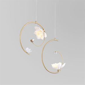 Moderne lichter messing led kronleuchter keramik blume pendelleuchten schlafzimmer wohnzimmer art deco hanglamps lichter leuchten