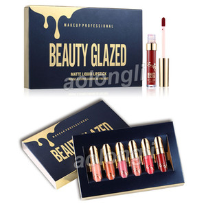 Gold Birthday Edition Lip Gloss 6 unids / set lápices labiales Maquillaje Líquido Lápiz Labial Lipgloss Kit Beauty Glazed Lip gloss Cosméticos