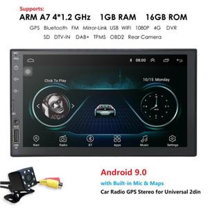 Quad Core Android 9.0 4G WIFI Double 2 DIN voiture Lecteur multimédia Radio Stéréo GPS Navi DVR DAB SWC BT MAP Mirror-link 1G + 16G CAM voiture dvd