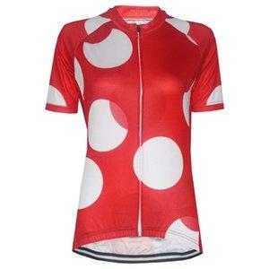 HIRBGOD 2020 Нового Cute Red Женского задействуя Джерси дышащего Quick Dry велосипед Shirt White Dot печать задействуя одежду Top Wear, HK776