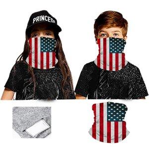 PM2.5 Filter Magic Mask Scarves USA flag kdis children Outdoor Face Scarf Turban Neck Sun Protective Cycling Bandanas Mask LJJA4076