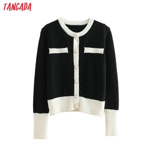 Tangada 패션 여성 검은 스웨터 코트 긴 소매에 목 여성 버튼 카디건 스웨터 흰색 의복 3L07