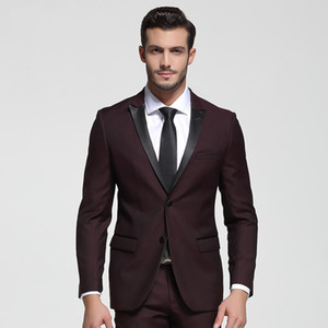 Custom 2020 Burgundy Wedding Tuxedos Slim Fit Bridegroom Tuxedos For Men Two Piece Groomsmen Suit Two Buttons Formal Business Jacket+Pant
