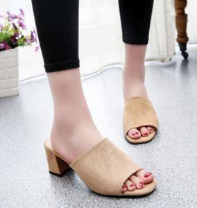 Neue koreanische Modehandel Fischmundschuhe Damen mit dicker Ferse Sommer Sandalen Quadrat Schuhe Flut