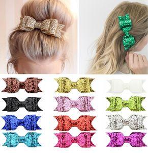 Çocuk prenses yay saç klip Sequins Litlle Kızlar Saç Yaylar Klipler Parlak Glitter Sevimli Tokalar Tokalarım Şapkalar Accessoires