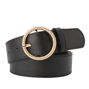 Las mujeres hebilla redonda de la moda de Nueva hembra de la correa de la aleación en relieve de hebilla de cinturón de cuero de imitación La tendencia ocasional de cintura del corsé