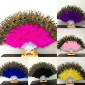 Peacock Feather Hand Fan Dancing Bridal Party Supply Decor Chinese Style Classical Fans Party Favor OOA7474-2
