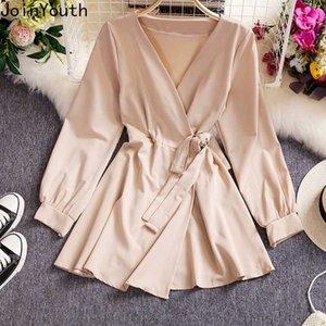 Joinyouth 2020 nuevo de las mujeres vestido elegante cordón de cintura alta adelgazan los vestidos de Corea sólido de manga larga con cuello en V Vestidos 57438