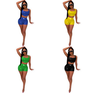 Frauen PU-Leder Helle Farben Leibchen Anzug Weste Shorts Kit Pure Color Dame Costume Sets Sommer Popular 2020 Neues Muster 40yz UU