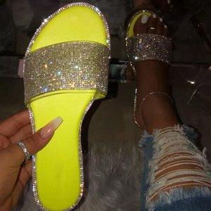 Flip CYSINCOS Estate di cristallo delle donne pantofole scintillio piatto morbido Bling femminile di colore della caramella Flops esterna signore diapositive Beach Shoes