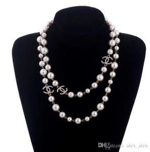 Il nuovo stile 2 strati collana di perle maglioni collane numero profumo del progettista della signora libera 5 donne senza collo Collares lunga collana