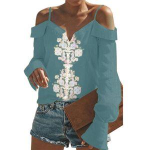 Verano de Bohemia suelta de manga larga sin tirantes de la venta de las mujeres calientes camiseta de la manera ocasional femenina del partido floral de la playa del club camisetas