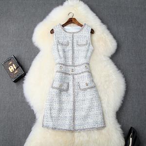 2019 Été Automne manches col rond Glamorous Plaid Imprimer lambrissés Détail Boutons Short Mini Robe Casual Tweed Robes LYB13T10095