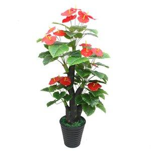 Plantas artificiales 1.6 metros Anthurium árbol plástico flor artificial árbol bonsai para decoración del hogar flores