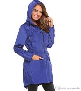 Moda Sólidos Com zíper e bolso Womens Jacket Designer mulher pano cordão com capuz elástico na cintura Trench Coats