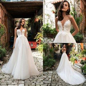 2020 Elegant Lace Wedding Dresses A Line Glitter Appliques Deep V Neck FSweep Train Beach Wedding Dress Custom Made Robes De Mariée