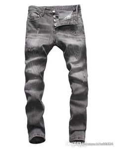 European standing men's jeans, men's jeans, a pair of skinny jeans and black embroidered skulls#133
