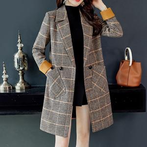 여성 중간 긴 복고풍 모직 코트 패션 격자 무늬 빈티지 겨울 따뜻한 긴 소매 버튼 모직 재킷 코트 chamarras de mujer