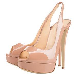 LOSLANDIFEN New 14CM Plate-forme de Super Chaussure Femme Femme Sexy Sandales peep toes Parti Gladiator Robe Chaussures Femme Taille Plus 42