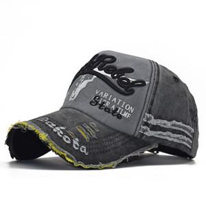 L'ultima tendenza in puro cotone di alta qualità lavato cappello rivestito da baseball, testa di mucca, cappello ricamato, cappello da sole