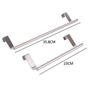 Porte-serviettes de cuisine en acier inoxydable salle de bains Hanging Bar porte basculante Armoire Hanger Porte-serviettes rail simple serviette Bar