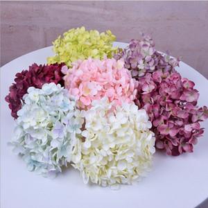 Simüle Yastık etkisi Başkanı Simüle Yastık etkisi DIY El Yapımı Brocade Topu Düğün Ortanca 11 Çatal Hydrangea Çiçek-Print