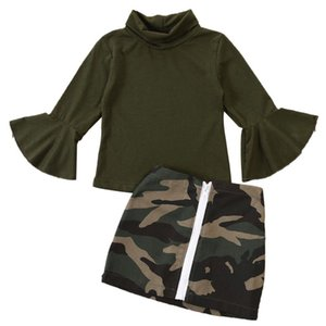 1-6Y Fashion Kids Baby Girls Clothes Sets Army Green Flare Long Sleeve Turtleneck T Shirt Leopard Mini Skirts Sunsuit