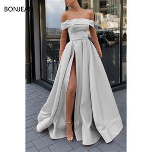 Prata Strapless Fora do ombro Vestidos longos 2019 fenda Sexy lado simples vestido Formal Abiye robe