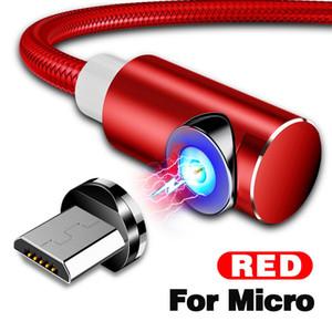 التجزئة 1M 2M الكوع 90 درجة جولة LED نايلون نوع-C المغناطيسي كابل الشحن USB كابل مايكرو USB تهمة سريع تهمة قوي المغناطيسي كابل