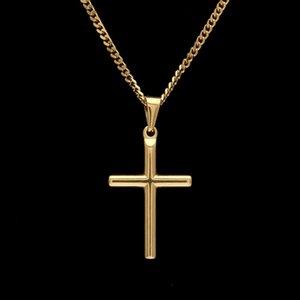 Collana con pendente a croce in acciaio inossidabile da uomo con catena a maglie cubane da 60 cm o catena a scatola placcata in oro Nuovi gioielli collane hip-hop di moda