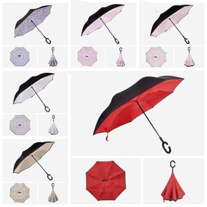 Double-Layer-Reverse-Regenschirm Die Gerade Rod Inversion Auto-Anzeige wind- und regensicher umgestülpt Parachute Regenschirme LXL1037D-1