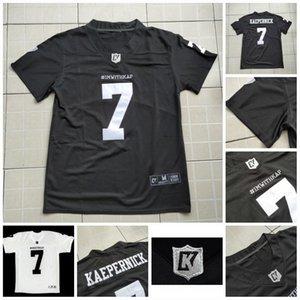 Mens Imwithkap film Jersey 7 Colin Kaepernick sto con Double White Wap football americano Jersey In Stock Black cucito Nome Numero