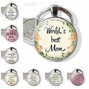 Worlds Best Mom Keychain mãe de presentes do dia Letters vidro Cabochon Metal Keychain Chaveiro charistmas presente para Mom Mom Bonus
