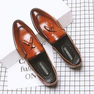 Korean design men's casual business office formal dress cow leather shoes slip on lazy shoe summer tassels loafers mans footwear