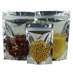 100pcs X 18 * 26 cm stand up emballage en aluminium clair feuille d'argent ziplock sacs répétable joint polyester sac de rangement, sac de rangement alimentaire fermeture éclair