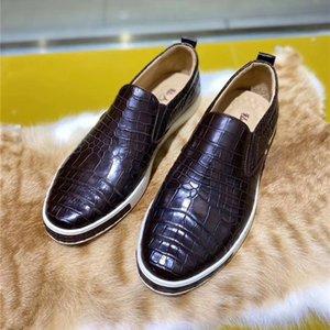 Unisex Stil Authentische echt Krokodil Bauch Haut Männer Casual Wohnungen Echte Alligator Leder männlichen Slip-on Walking Loafer Schuhe
